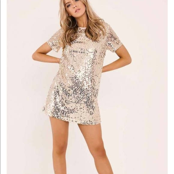 002f9770d5c In the Style Madeline Gold Sequin T Shirt Dress